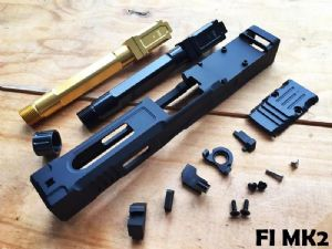 Ready Fighter FI Style MK2 Slide with (Black / Gold barrel) Barrel Set For Marui G18C/17 GBB
